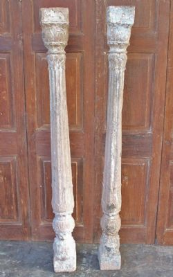 Pair of 19th Century Mughal Sandstone Pillars  <b>SOLD<b>